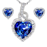 MABELLA Simulated Heart Pendant Nacklace & Earring Set Sterling Silver 18 Inch Chain
