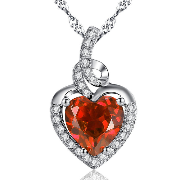 Birthstone Heart Necklace Sterling Silver Women Pendant Birthday Gifts for Her