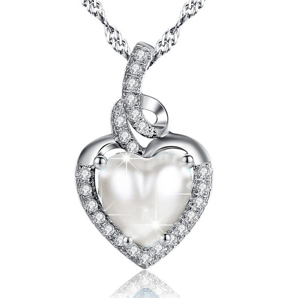 MABELLA Heart Pearl Pendant Necklace Sterling Silver Women Pendant Birthday Gifts for Her