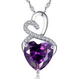 MABELLA Sterling Silver Double Heart Simulated Birthstone Pendant Necklace, Women Gifts for Her