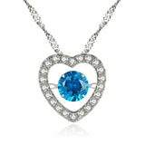 MABELLA Sterling Silver 0.5 ct Round Shaped Cubic Zirconia Heart Style Dancing Pendant Necklace, 18""