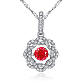 MABELLA Sterling Silver 0.5 ct Round Shaped Dancing Pendant Necklace, 18""