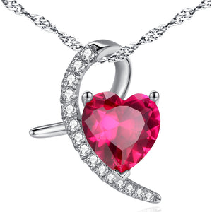 MABELLA 925 Sterling Silver Simulated Ruby Heart Pendant Necklace Gifts for Women