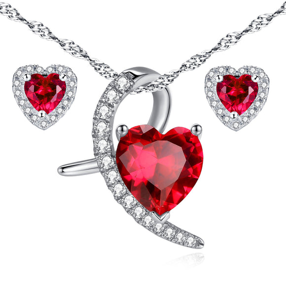 MABELLA Sterling Silver Heart Cut Simulated Ruby Pendant Earrings Jewelry Set, Gifts for Women