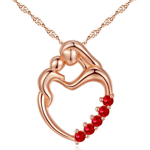 MABELLA Sterling Silver Rose Gold Plated Simulated Ruby Heart Mother and Child Pendant Necklace Mothers Day Gifts for Women
