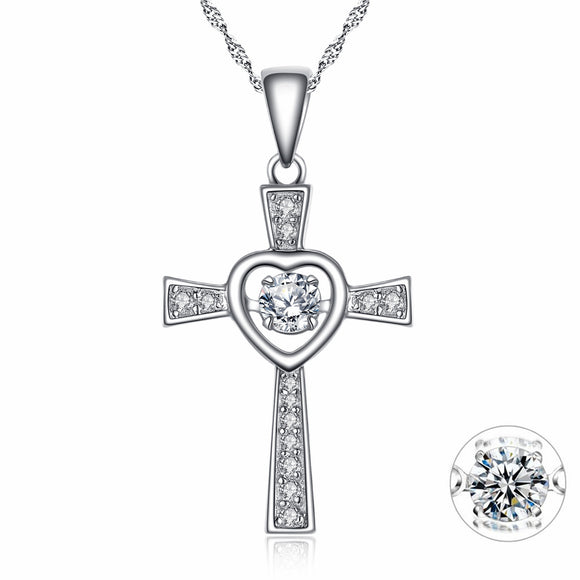 MABELLA Sterling Silver 0.25 ct Round Shaped Cubic Zirconia Cross Dancing Pendant Necklace, 18