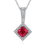 MABELLLA Sterling Silver Princess Cut Simulated Emerald/Ruby Halo Pendant Necklace Gifts for Women