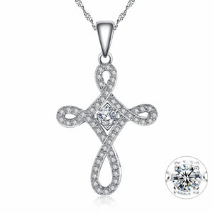 MABELLA Sterling Silver 0.25ct Round Shaped Cubic Zirconia Charm Cross Dancing Pendant Necklace, 18""