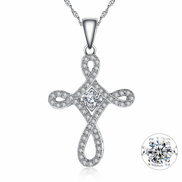 MABELLA Sterling Silver 0.25ct Round Shaped Cubic Zirconia Charm Cross Dancing Pendant Necklace, 18