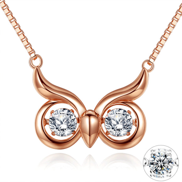 MABELLA Dancing Twinkling CZ Rose Gold Necklace Owl Eye Animal Pendant, Womens Gifts for Her