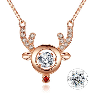 MABELLA Dancing Stone Pendant Necklace Rose Gold Reindeer Pendant Womens Valentines Gifts for Women