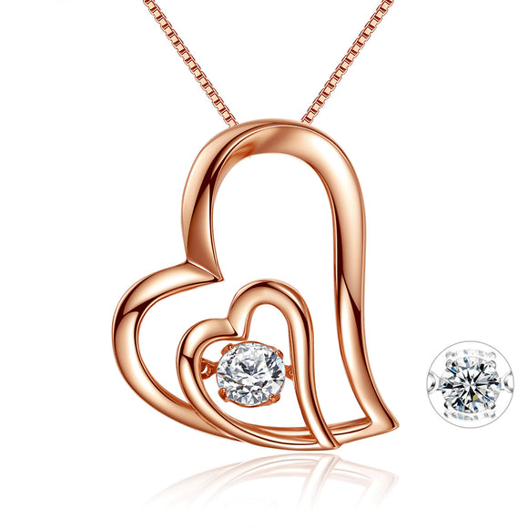 MABELLA Dancing Twinkle Necklace Rose Gold Double Love Heart Pendant, Womens Gifts for Her