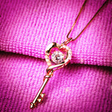 MABELLA Dancing Collection Rose Gold Plated Sterling Silver 0.9 ct Heart Shape Key Pendant Necklace