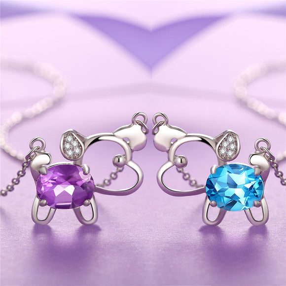 MABELLA 925 Sterling Silver Animals Dog Pendants Natural Blue Topaz/Amethyst Gemstone Necklace
