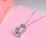 Double Heart Pendant Necklace Natural Amethyst I Love You To The Moon and Back, Gifts for Women