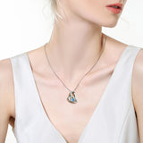 Double Heart Pendant Necklace Natural Blue Topaz I Love You To The Moon and Back, Gifts for Women