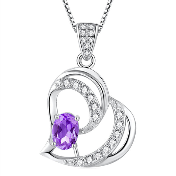 f3180f362 MABELLA 925 Sterling Silver Heart Pendant Necklace Natural Amethyst Fine  Jewelry Gifts for Girls