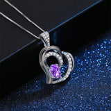 MABELLA 925 Sterling Silver Heart Pendant Necklace Natural Amethyst Fine Jewelry Gifts for Girls