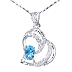 MABELLA 925 Sterling Silver Heart Pendant Necklace Natural Blue Topaz Fine Jewelry Gifts for Girls