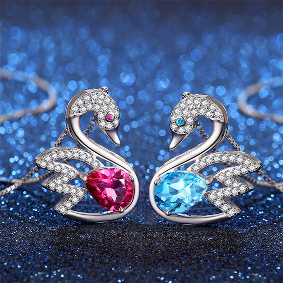 MABELLA 925 Sterling Silver Swan Genuine Blue Topaz/Pink Topaz Pendant Necklace, Gifts for Women