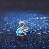 MABELLA 925 Sterling Silver Swan Pendant Necklace Genuine Blue Topaz Natural Gemstone Gift for Women
