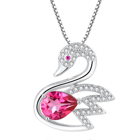 MABELLA 925 Sterling Silver Animals Swan Genuine Pink Topaz Pendant Necklace, Gifts for Women