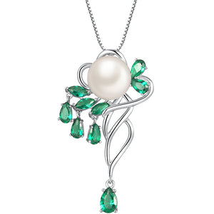 MABELLA 925 Sterling Silver 9.5-10MM AAA Freshwater Cultured Pearl Spinel Pendant Necklace for Women