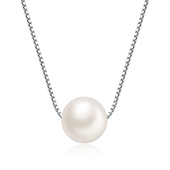 MABELLA Freshwater Cultured 8MM AAA White Round Pearl Pendant Necklace 925 Sterling Silver for Women