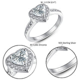 MABELLA Sterling Silver 1.90ct Halo Heart Engagement Ring Cubic Zirconia Promise Rings for Women