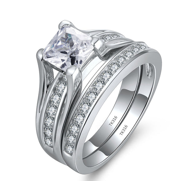 MABELLA Stainless Steel Cubic Zirconia Princess Cut Women's Wedding Engagement Bridal Ring Set