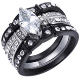 MABELLA Stainless Steel Marquise Cubic Zirconia Black Wedding Band Engagement Ring Set for Her