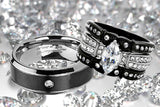 His and Hers Couples Rings Black Stainless Steel Wedding Engagement Ring Bridal Sets Mens Band