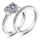 MABELLA 3 PCS His Hers Stainless Steel Women's Wedding Engagement Rings & Men's Matching Band