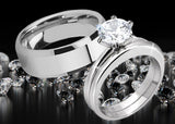 MABELLA His Hers Stainless Steel Men's Band Women Round Cubic Zirconia Wedding Engagement Ring Set