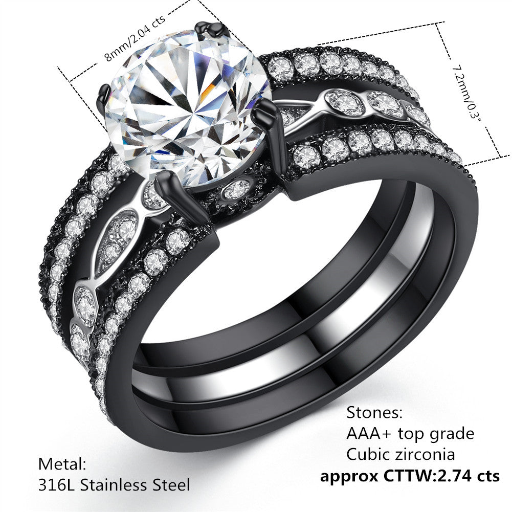 4fe7a73c0ef5f MABELLA Couple Rings Black Men¡¯s Titanium Band Women CZ Stainless Steel  Engagement Wedding Sets
