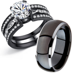 MABELLA Couple Rings Black Men¡¯s Stainless Steel Band Women CZ Stainless Steel Engagement Wedding Sets