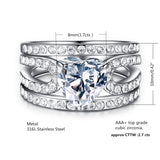 MABELLA Womens Cz Stainless Steel Wedding Engagement Ring Set Heart Cut Cubic Zirconia