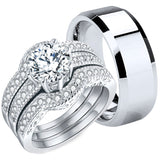 MABELLA Couples Rings Her CZ Sterling Silver Engagement Wedding Ring Sets His Stainless Steel Bands