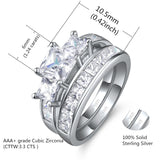 Sterling Silver Three Stone CZ Princess Cut Wedding Engagement Bridal Ring Set Valentines Day Gifts