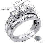 MABELLA Couple Rings Men Stainless Steel Ring Women Three Stone Princess Cut Sterling Silver Rings
