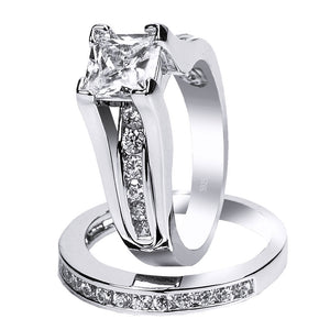 MABELLA 925 Sterling Silver Cubic Zirconia Princess Cut Women's Wedding Engagement Bridal Ring Set