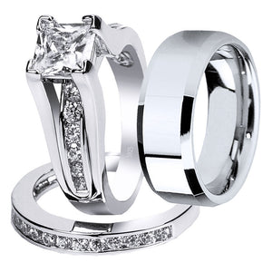 MABELLA Couples Ring Sets Women's Sterling Silver Princess CZ & Men's Stainless Steel Bands