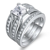 MABELLA Sterling Silver Cubic Zirconia Princess Cut Wedding Engagement Ring Bridal Set for Women