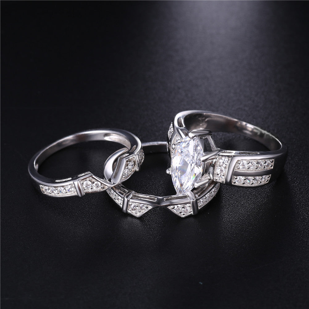 MABELLA Trio Sterling Silver Cubic Zirconia Cz Marquise Wedding Ring S