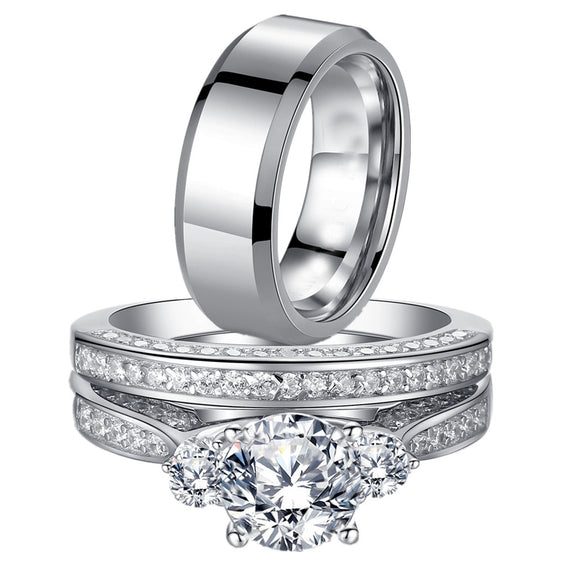 MABELLA Wedding Ring Sets Three Stone Women Silver Cz Ring Set and Men Stainless Steel Matching Band