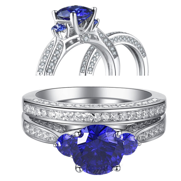 MABELLA 2.3ct Round Cut White & Blue Cz 925 Sterling Silver Wedding Engagement Ring Set Size 5-10