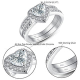 MABELLA Jewelry Halo Heart Shaped CZ Sterling Silver Wedding Band Engagement Ring Set For Women