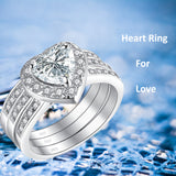MABELLA 2.8 CTW Halo Heart Shaped CZ Sterling Silver Wedding Band Engagement Ring Set For Women