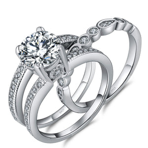 MABELLA Sterling Silver Cubic Zirconia Wedding Rings Set, Marrige Anniversary Gifts for Women