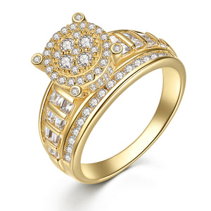 MABELLA Solid 925 Sterling Silver Gold Plated Cubic Zirconia Luxury Ring Gifts for Women